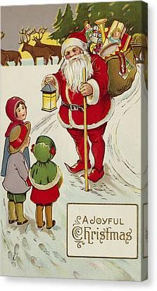 A Joyful Christmas Postcard Canvas Print