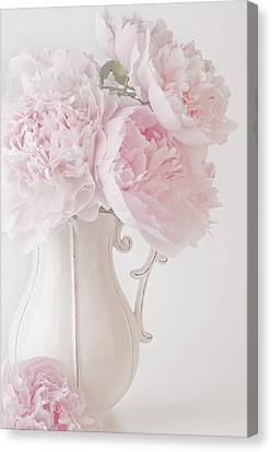 A Jug Of Soft Pink Peonies Canvas Print
