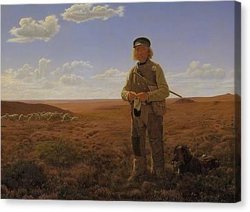 Lambing Canvas Print - A Jutland Shepherd On The Moors by Frederik Vermehren