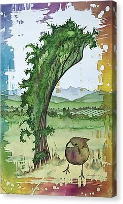A Kale Leaf And A Little Bird Canvas Print by Carolyn Doe