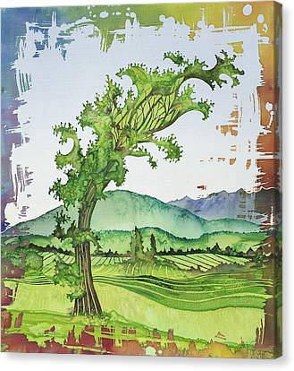 A Kale Leaf Visits The Country Canvas Print by Carolyn Doe