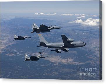 A Kc-135r Stratotanker Refuels Three Canvas Print by HIGH-G Productions