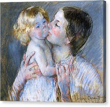A Kiss For Baby Anne Canvas Print by Mary Stevenson Cassatt