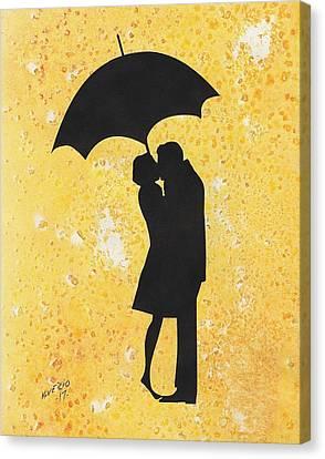 A Kiss Under Umbrella  Canvas Print
