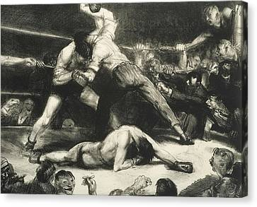 Referee Canvas Print - A Knock-out by George Bellows