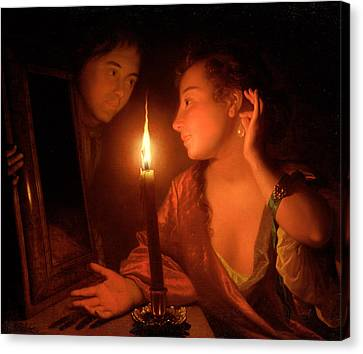 A Lady Admiring An Earring By Candlelight Canvas Print by Godfried Schalcken