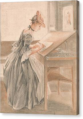 A Lady Copying At A Drawing Table Canvas Print by Paul Sandby