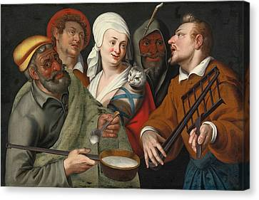 Porridge Canvas Print - A Lady Holding A Swaddled Cat A Man With A Pan Of Porridge Another Playing With Fire Irons And Two O by Circle of Bartolomeo Passerotti