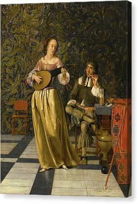 Woman Playing A Lute Canvas Print - A Lady Playing A Lute With A Gentleman Seated At A Table In An Interior by Eglon Hendrik