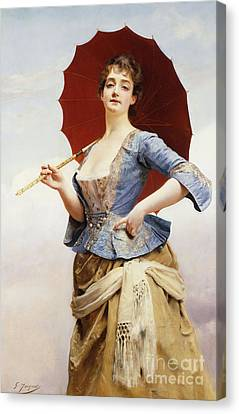 A Lady With A Parasol Canvas Print by Gustave Jean Jacquet
