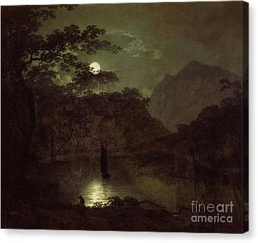 A Lake By Moonlight Canvas Print by Joseph Wright of Derby