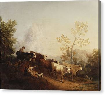 A Landscape With Cattle Returning Home Canvas Print by Thomas Gainsborough