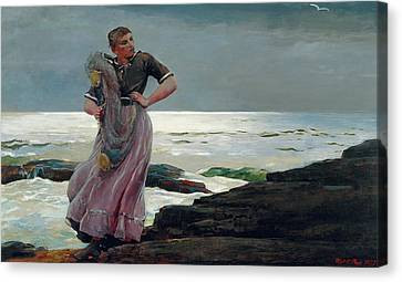A Light On The Sea Canvas Print by Winslow Homer