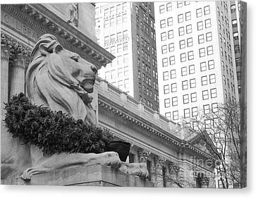Bryant Park And Public Library Canvas Print - A Lion In The City by Victory Designs