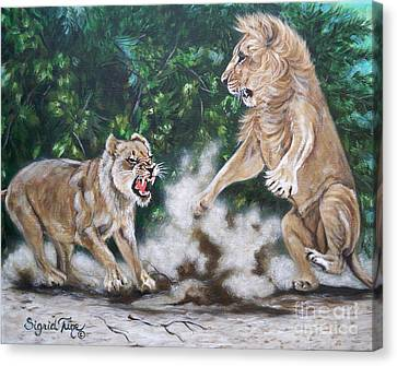 Growling Canvas Print - Blue Cat Productions       A Lion's Life - by Sigrid Tune