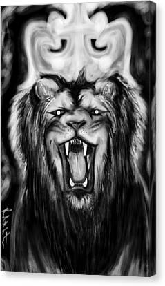 A Lion's Royalty B/w Canvas Print