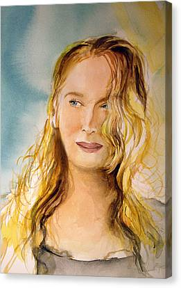 Canvas Print featuring the painting A Little Bit Of Meryl by Allison Ashton