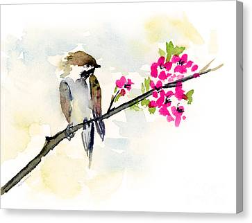 Sparrow Canvas Print - A Little Bother by Amy Kirkpatrick