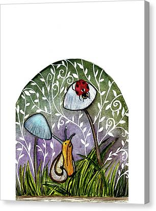 A Little Chat-ladybug And Snail Canvas Print by Garima Srivastava