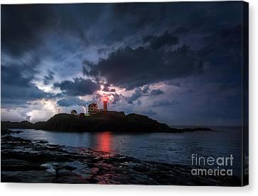 Nubble Lighthouse Canvas Print - A Little Extra Light by Scott Thorp