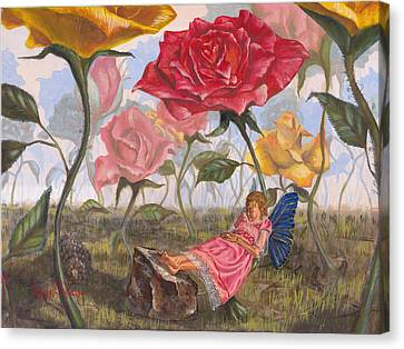 Flower Pink Fairy Child Canvas Print - A Little Nap by Jeff Brimley