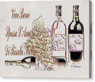 A Little Vino Canvas Print by Jean Gugliuzza