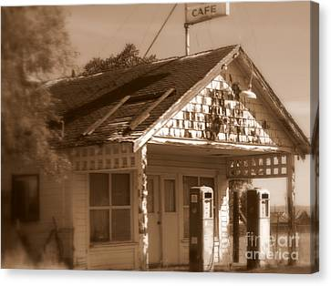 A Little Weathered Gas Station Canvas Print by Carol Groenen