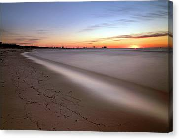 Canvas Print featuring the photograph A Long Beach Sunrise - Mississippi Gulf Coast - Landscape by Jason Politte