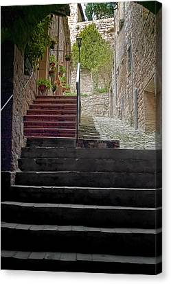 A Long Climb Up Tuscan Steps Canvas Print by Michael Flood