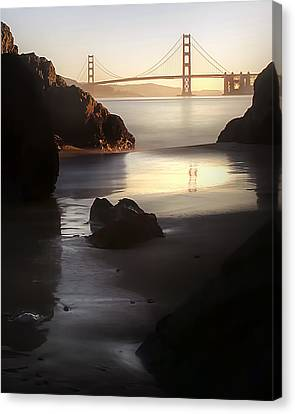 China Beach Canvas Print - A Long Exposure Of A Jellyfish by Sean Foster