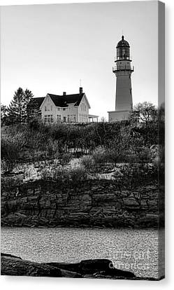 Canvas Print featuring the photograph A Long Winter At Cape Elizabeth by Olivier Le Queinec