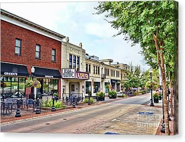 Canvas Print featuring the photograph A Look Down College Avenue - Blacksburg Virginia by Kerri Farley