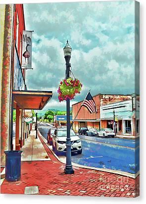 Canvas Print featuring the photograph A Look Down Main Street - Waynesboro Virginia - Art Of The Small Town by Kerri Farley