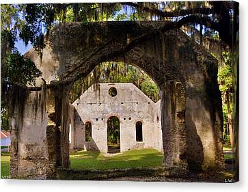 A Look Into The Chapel Of Ease St. Helena Island Beaufort Sc Canvas Print by Lisa Wooten