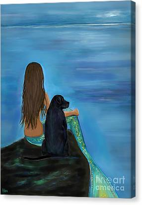 Canvas Print featuring the painting A Loyal Buddy by Leslie Allen