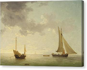 A Lugger And A Smack In Light Airs Canvas Print by Charles Brooking