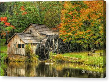 A Mabry Mill Autumn Canvas Print by Darren Fisher