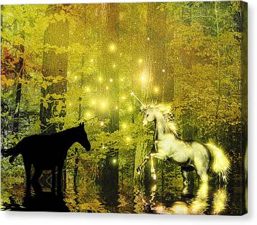 A Magic Encounter In The Enchanted Forest Canvas Print by Diane Schuster