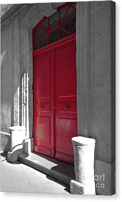 A Magic Red Door Canvas Print by Christine Amstutz