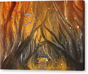 A Magical Dream In A Forest Canvas Print by Angela A Stanton