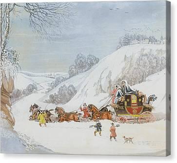 A Mail In Deep Snow Canvas Print