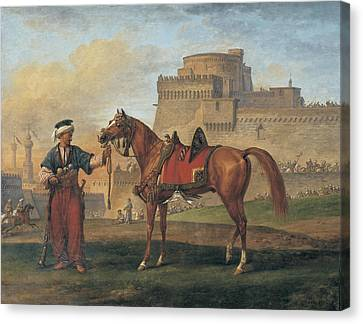 A Mameluk Leading His Horse With A Citadel In The Background Canvas Print
