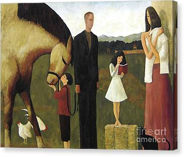 Canvas Print featuring the painting A Man About A Horse by Glenn Quist