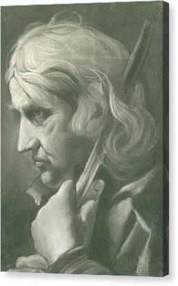 A Man Leaning On A Staff Canvas Print