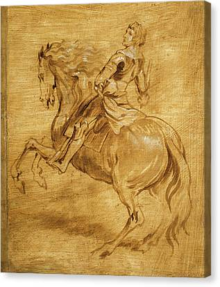 A Man Riding A Horse Canvas Print by Anthony van Dyck