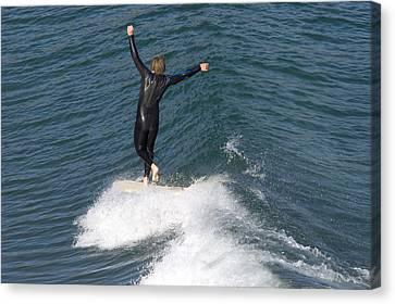 A Man Surfs A Longboard At Refugio Canvas Print by Rich Reid