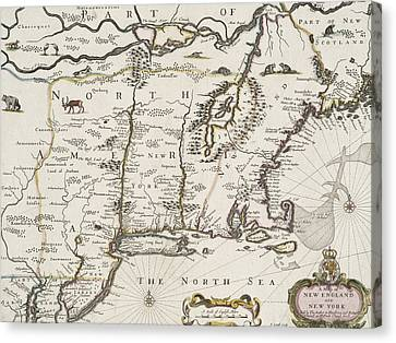 Creature Canvas Print - A Map Of New England And New York by John Speed