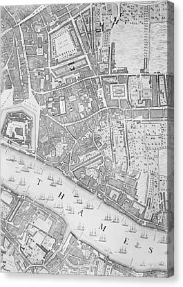 A Map Of The Tower Of London Canvas Print by John Rocque