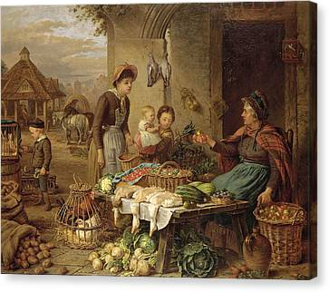 Henry Charles Bryant Canvas Print - A Market Stall by Henry Charles Bryant