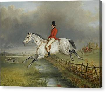 A Master Of The Royal Buckhounds Clearing A Fence On A Grey Hunter Canvas Print